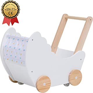 Crown Children 2-in-1 Baby Learning Walker Wooden Strollers with Blocks - Toddler Baby Push Walker Toys with Wheels for Girls Boys 1-3 Years Old, Wagon Toy Walkers Sturdy Construction (Boat)