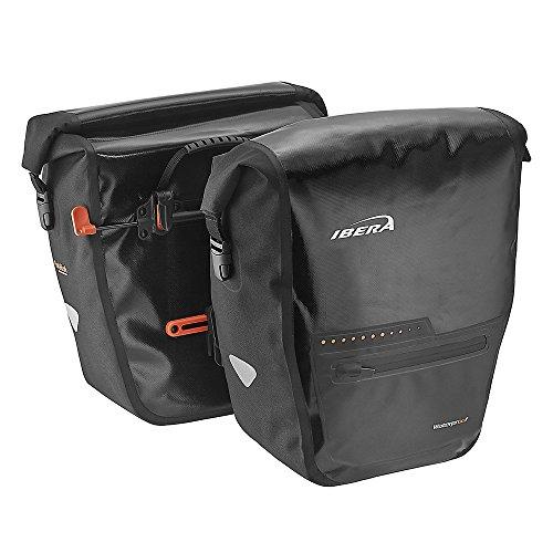 Ibera Bike Pannier Bag - PakRak Clip-On Quick-Release Waterproof Bicycle Panniers (Pair) (Black)
