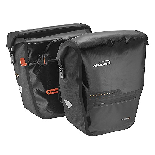 Ibera Bike Pannier Bag - PakRak Clip-On Quick-Release Waterproof Bicycle Panniers (Pair) (BLACK)
