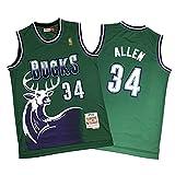 KHLKGMW Camiseta de los hombres, #34 Allen Retro Baloncesto Ropa Bordado Camiseta de Entrenamiento Transpirable Chaleco Sin Mangas -Verde M