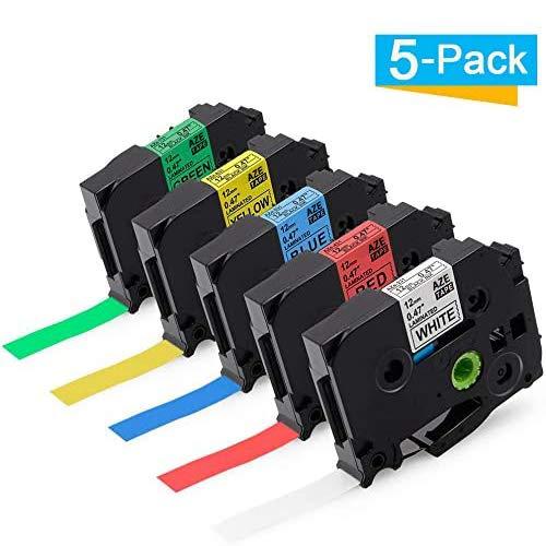 Cassetta Nastro Etichette Laminato Tape Suminey compatibile in sostituzione di Brother TZe Label Tapes Compatibile per Etichettatrice TZe-231-731 con P-touch PT-1000 PT-H100LB Etichettatrice 12mm, 5PK