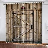 Cortinas Opacas Impresión 3D con Ojales Termicas Aislantes 140×260Cm Ruido Reducción para habitación Oficina y salón 100% Poliéster Puerta de Madera