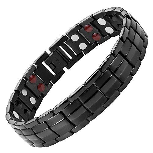 Willis Judd Double Strength Titanium Magnetic Therapy Bracelet for Arthritis Pain Relief Black Colour Adjustable