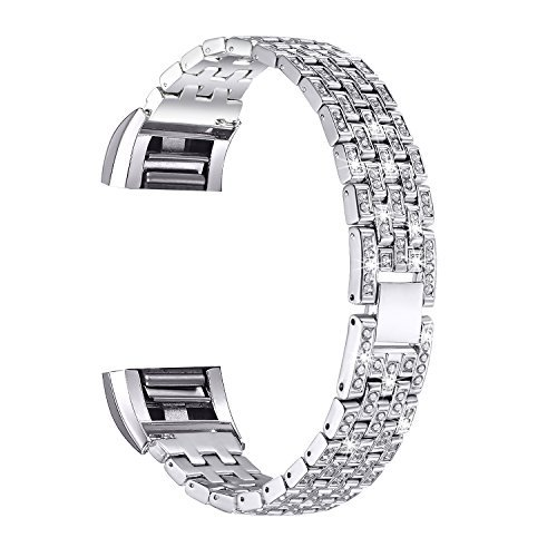 bayite Metal Bands Compatible Fitbit Charge 2, Replacement Accessories Bracelet, Silver Rhinestone