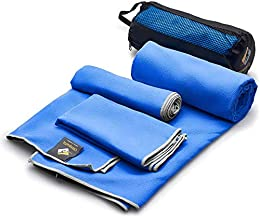 OlimpiaFit Microfiber Towel - Quick Dry (3 Size Pack) - Camping, Sports, Beach, Backpacking, Gym, Travel Towels w/ Bag - Soft, Compact, Lightweight