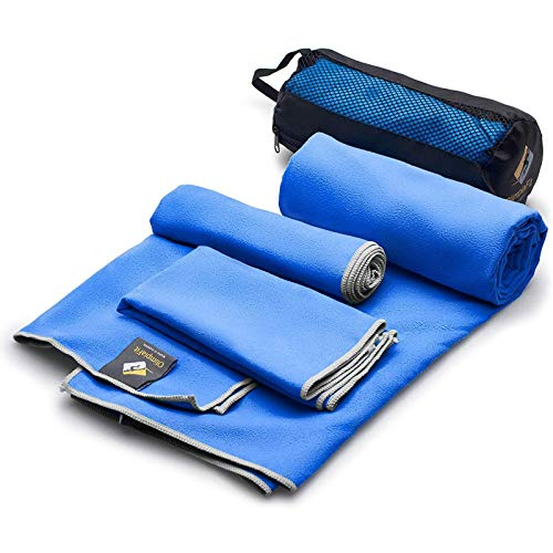 3 Pack Microfiber Bath Towels Quick Dry Best - Gym Workout Travel Swimming Antimicrobial Shammy — Camp Outdoor Hiking Towel - Ultra Absorbent Bathroom Body Hair Face Hand Neck Navy - Gift Mesh Bag