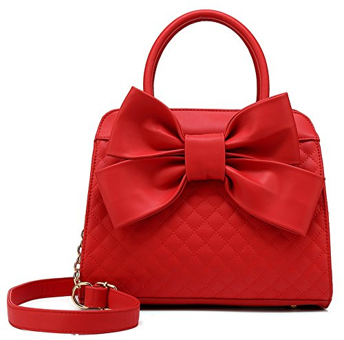 Scarleton Quilted Bow Satchel Handbag for Women, Vegan Leather Crossbody Bag, Shoulder Bag with Removable Adjustable Strap, Tote Purse, Red, H104810