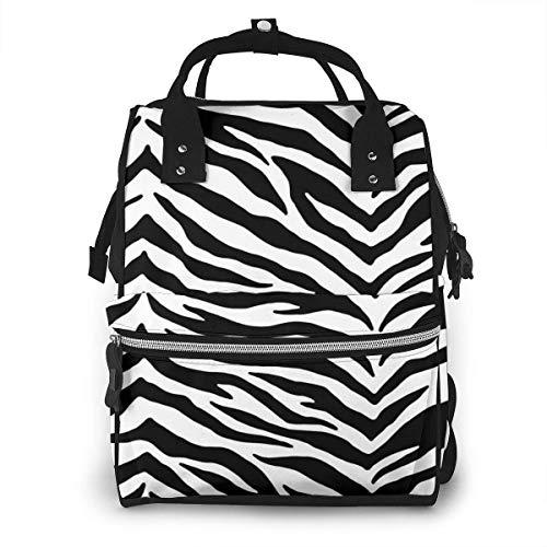 Zwarte en witte Zebra Print Luiertas Mode Waterdichte Multi-Functie Reizen Rugzak Grote luiertassen Mummy Rugzak voor Baby Zorg