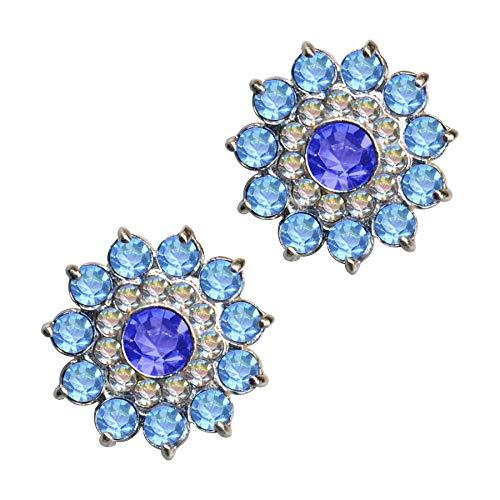 Pendientes de plata de ley 925 con diseño de flor, sol, flor, azul, blanco y azul claro, con circonitas, cristales de estrás, plata de ley 925, flores azules, flower blue sun blossom