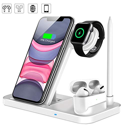 Kabelloses Ladegerät , 4 in 1 Induktive ladestation mit Stift Ladestation Ständer fast Wireless Charger für iWatch 5/4/3/2/1, Airpods, iPhone 11/Pro Max/XS/XR/X/8,Galaxy S10/S9 und mehr (Weiß)