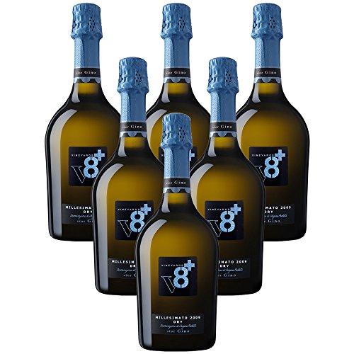 Sior Gino Prosecco Millesimato DOC 2016 V8+ Spumanti Vineyards Vino Spumante Dry 6 X 75 Italienischer Sekt