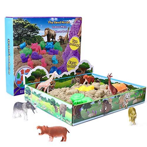 XDDIAS Arena Mágica, 500g Arena Kinética Play Sand - 3D Magic Bandeja Sand con 12 Juguete Animal & 10 Moldes, DIY Juguete de Interior para Niños