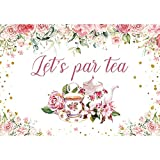 LIVUCEE 7x5ft Polyester Fabric Tea Party Backdrop for Photography Floral Tea Party Baby Shower Little Princess Birthday Background Party Decorations Photo Studio Props