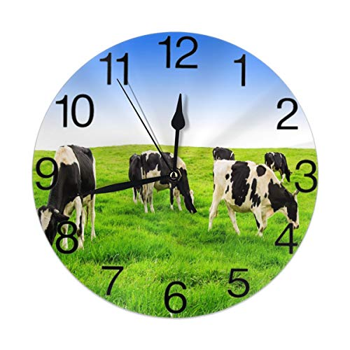 KiuLoam Farm Animal Cow Group Round Wall Clock Silent Non Ticking Battery Operated Easy to Read for Student Office School Home Decorative Clock Art