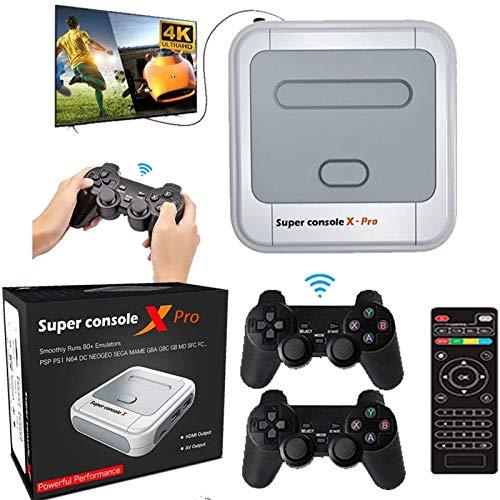 KINMRIS Consola de videojuegos Super Consola X PRO 256G incorporada en más de 50000 juegos, Consola súper retro de juegos para TV 4K compatible con salida HD, compatible con 5 jugadores