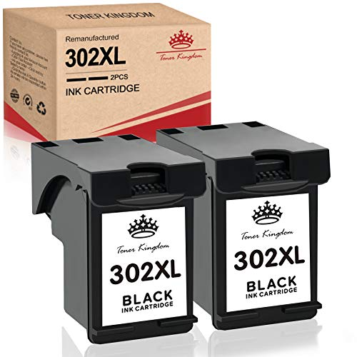 Toner Kingdom Remanufacturado para HP 302XL 302 Cartuchos de Tinta Reemplazo para HP DeskJet 1110 2130 3630 Envy 4520 4522 4523 4524 Officejet 3830 3831 4650 4652 4654 5220 5230 (2 Negro)
