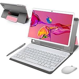 Tablet 10 Pulgadas 4GB de RAM 64GB de ROM Android 10 Certificado por Google GMS Tablet PC Baratas y Buenas Batería 8000mAh Quad Core 4G Dual SIM 8MP Cámara Netflix WiFi Bluetooth GPS OTG(Rosa)