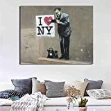 Mural I Love New York Wall Art Canvas Painting Poster Print Modern Painting Wall Picture for Living Room Home Decor 60x80 cm Sin Marco