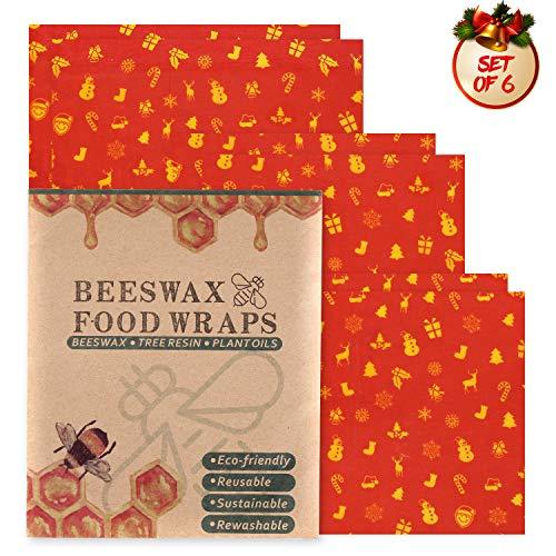 Joyoldelf Bienenwachstuch-Weihnachten Beeswax Wrap Wachspapier Bienenwachstücher für Lebensmittel,Die Gesunde, Alternative zum Frischhaltefilm und Wiederverwendbar 6er-Pack