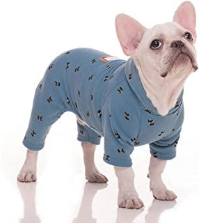 Stock Show Pet Clothes Small Dog Four Legs Clothes Bulldog Teddy Autumn Winter Soft Warm Velvet Pajamas Jumpsuits Cute Owl Printed Shirts Doggie Apparel Costume for Small Medium Dog Puppy, Blue