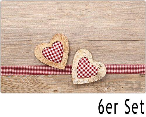 matches21 Tischsets Platzsets MOTIV Landhaus Herzen auf Holz/Holzoptik 6 Stk. Kunststoff abwaschbar je 43,5x28,5 cm