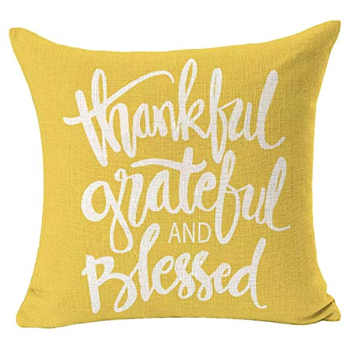 Bnitoam Grateful Thankful and Blessed Quote Square Best Gift for Family Holiday Decorative Throw Pillow Cover Cushion Case for Outdoor Bed Sofa Bed 18inches (Yellow)