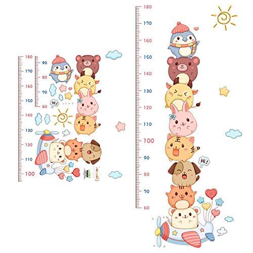 Gymqian Gráfico de Crecimiento Gráfico de Altura para Niños Animales Personalizados Gráfico de Crecimiento Pegatina de Pared Regla de Pared para Niños Niñas Dormitorio Decoración de