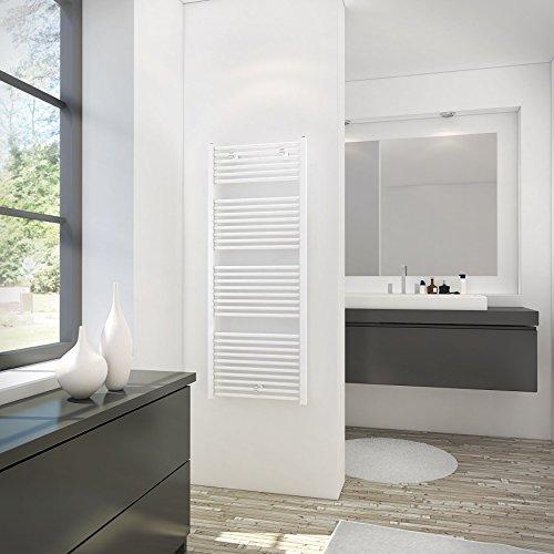 Schulte H1530 04 Sèche-serviette pour salle de bain, radiateur à eau chaude, env. 900 W, blanc, 60 x 154 cm