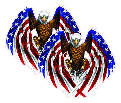 Bald Eagle American Flag Eagle Wings Decal ( 2 Pack ) is 5.5' in size. from the United States