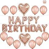 Tumao 13 pcs Decoración Cumpleaños de Globos, Oro Rosa Happy Birthday Banner Globos de Papel de Aluminio de Corazón Globos de Látex para Fiesta de Cumpleaños de Mujeres Adulto