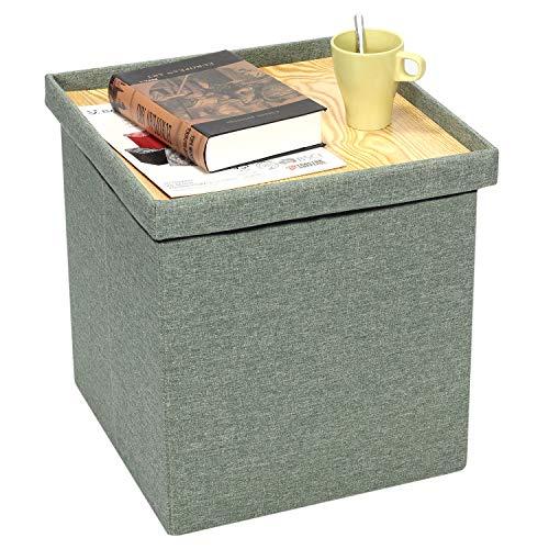 Bonlife Sitztruhe mit Stauraum Kinder Aufbewahrungsbox Belastbar Leinen Truhe Sofa Couch Hocker Kisten Organizer Box,Grün,40x40.5x38.5cm