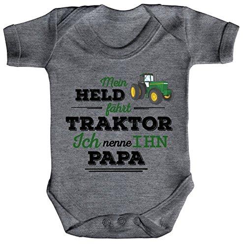 Vatertag Landwirt Trecker Strampler Bio Baumwoll Baby Body kurzarm Papa - Mein Held fährt Traktor, Größe: 0-3 Monate,Heather Grey Melange