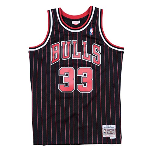 Mitchell & Ness NBA Swingman Scottie Pippen Chicago Bulls 1995-96 Hardwood Classics - Camiseta de rayas negras