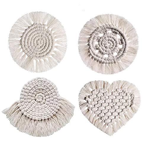 Tocwick Juego de 4 posavasos de macramé, hechos a mano, con forma de corazón, redondos, con borla de algodón, para tazas, mesa, decoración del hogar