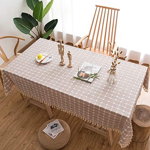 HB life Tischdecke Tischtuch Tischwäsche Tischdekoration Tafeltuch hochwertig Karierte Quaste aus Baumwolle und Leinen Pflegeleicht Garten Zimmer Tischdekoration (140x 220cm, Beige)