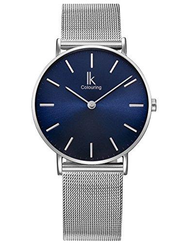 Alienwork Navy Blue Damen Herren Armbanduhr Quarz Silber mit Metall Mesh Armband Edelstahl blau Ultra-flach Slim-Uhr