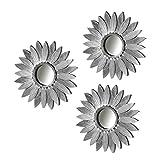 Dcasa - Set 3 Espejo Plata Polipropileno 25 cm