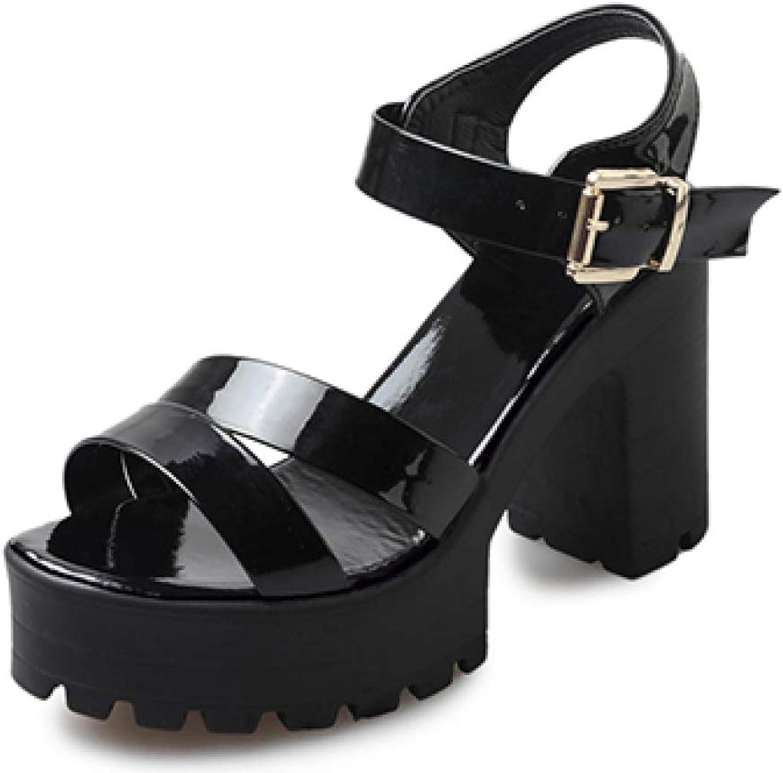 MEIZOKEN Women's Ankle Strap Block Heeled Platform Sandal Open Toe Cutout High Chunky Heel Gladiator Sandals