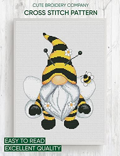 Cross stitch pattern: Bee gnome: Counted cross stitch (English Edition)