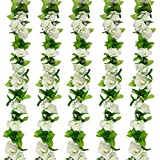 Huryfox 5 Pack Artificial Flower Vines for Indoor & Outdoor Decoration Fake Roses Rattan Ivy Hanging Floral Garland Decor for Wedding Arch/Birthday Party/Event Background Wall (36 Feet, White)