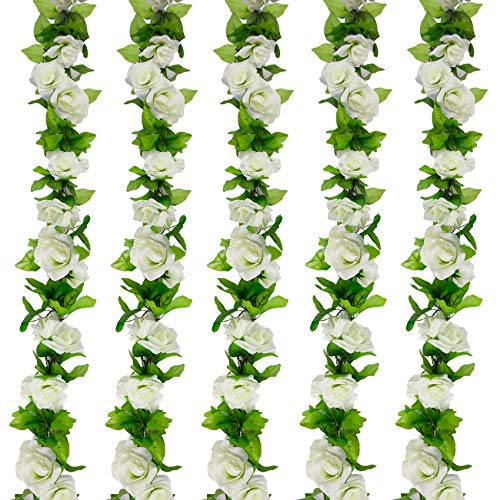 Huryfox 5 Pack 45 Heads Artificial Hanging Rose Vines Flowers, Fake Silk Flowers Ivy Leaves, Faux Plants for Wedding Home Office Arch Arrangement Decoration(36FT) (White)