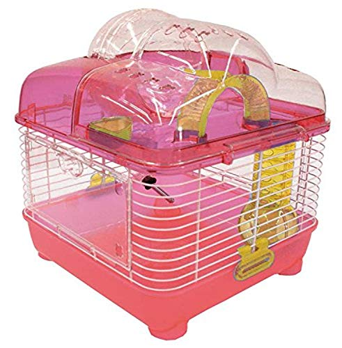 YML Clear Plastic Dwarf Hamster Mice Cage with Ball on Top, Pink