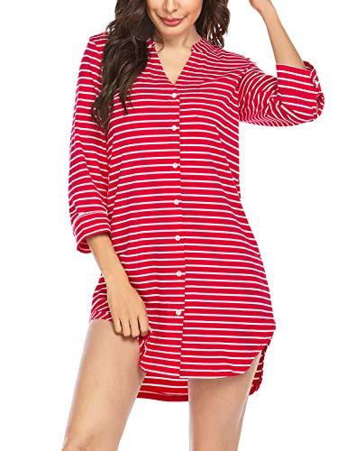 Balancora Damen Nachthemd 3/4 Ärmel Baumwolle Kurzarm Stillnachthemd V-Neck High Low Sleepshirts Nachtwäsche