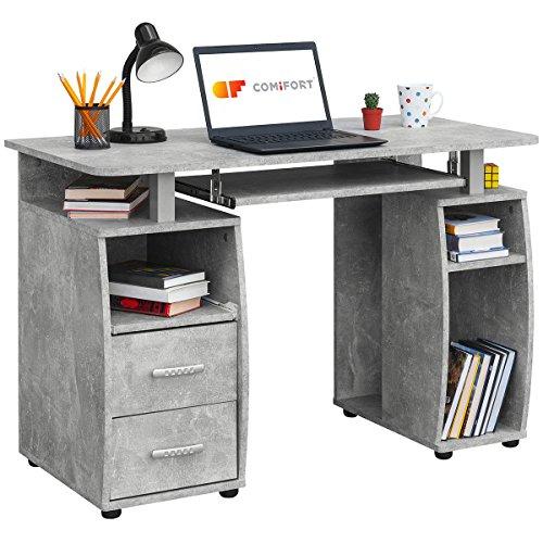 COMIFORT Mesa de Ordenador, Escritorio, Mesa de Oficina, 115x55x85 cm (Stone)