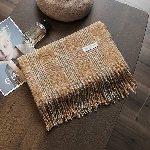 Alvnd Plaid mit Fransen Schal Polyesterfaser Elegante Dame Classic Soft Luxurious Winter Schal for Männer Frauen, Länge 78,7 Zoll (Color : E, Size : 68×200cm)