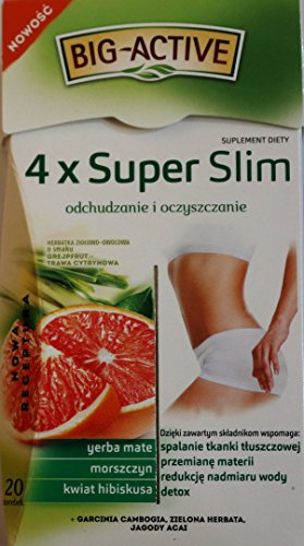 4 x Super Slim Tee, abnehmen und reinigen. Nahrungsergänzungsmittel. Kräuter-Früchtetee mit Grapefruit- und Zitronengrasgeschmack. Nettogewicht 40g (20 Beutel x 2 g)