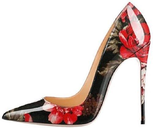 Qiusa Bombas de Estampado de Flores zapatos de tacón Alto de mujer de Gran tamaño (Color   rojo, tamaño   EU 36)