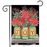 """Briarwood Lane Joy Mason Jars Christmas Garden Flag Poinsettias 12.5"""" x 18"""""""