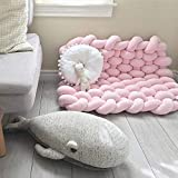 ZAIPP Premium Handgewebt Kinderzimmer Dekor Kinder Teppich Baby-schlafmatte Leseecke Boden Teppich,rechteckigen Weich Komfort Teppich Rosa 85x70cm(33x28inch)
