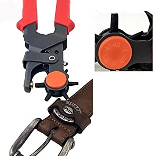 Adorox Heavy Duty 6 Size Revolving Leather Belt Hand Hole Puncher (1, Grey/red)